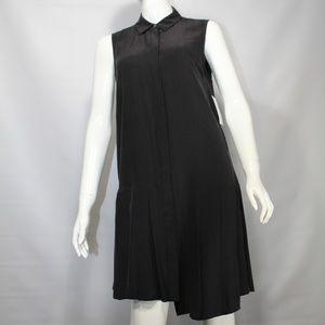 Equipment Gigi Silk Black Sleeveless Button Dress